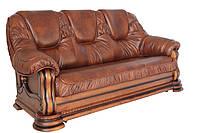 """Новый раскладной 3х местный кожаный диван """"Grizly"""", коричневый (2 цвета в наличии)"""
