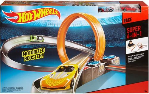 Супер трек HOT WHEELS DMB14 6в1+ 2 автомобиля