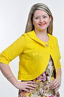 Жакет женский (ЖК 715589), лен, хлопок, желтый, 44,46,48,50,52, болеро.