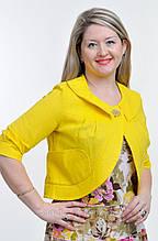 Жакет женский ЖК 715589, лен, хлопок, желтый, 44,46,48,50,52, болеро.