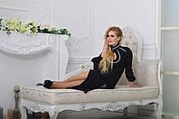 Роскошное черное платье с белой Дубайской тесьмой. Арт-9001/72