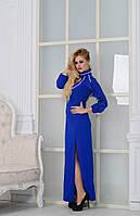 Роскошное  платье в пол  с белой Дубайской тесьмой, цвет электрик. Арт-9001/72