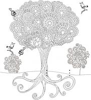 Обои-раскраски для детей Дерево 60х60см
