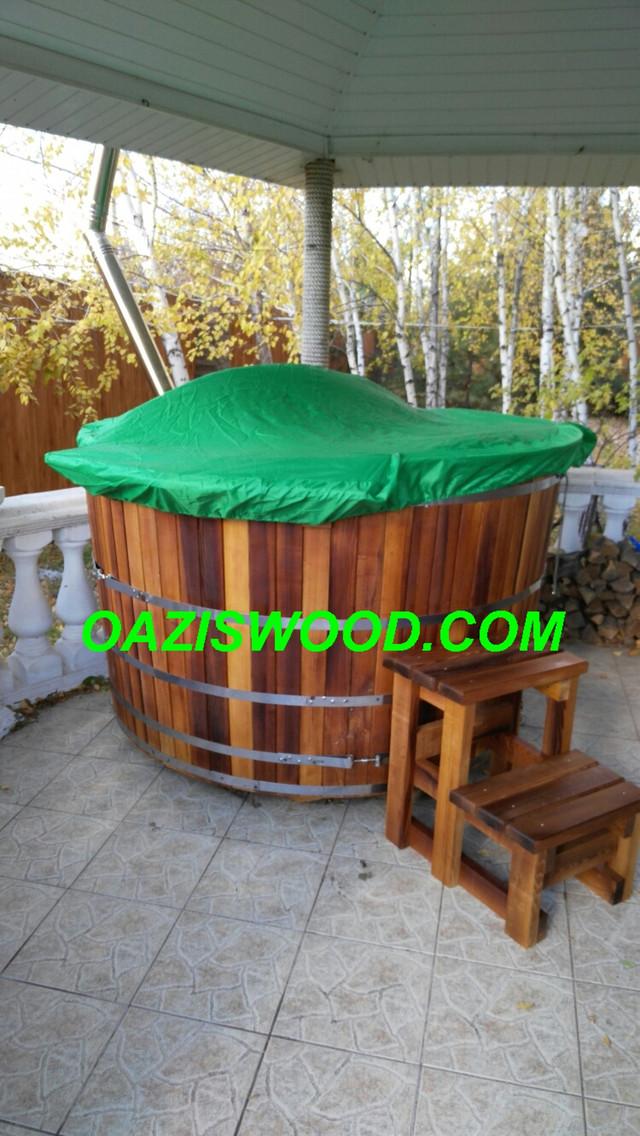 Офуро, японская баня, фурако, купель с печкой, чан из термоясеня
