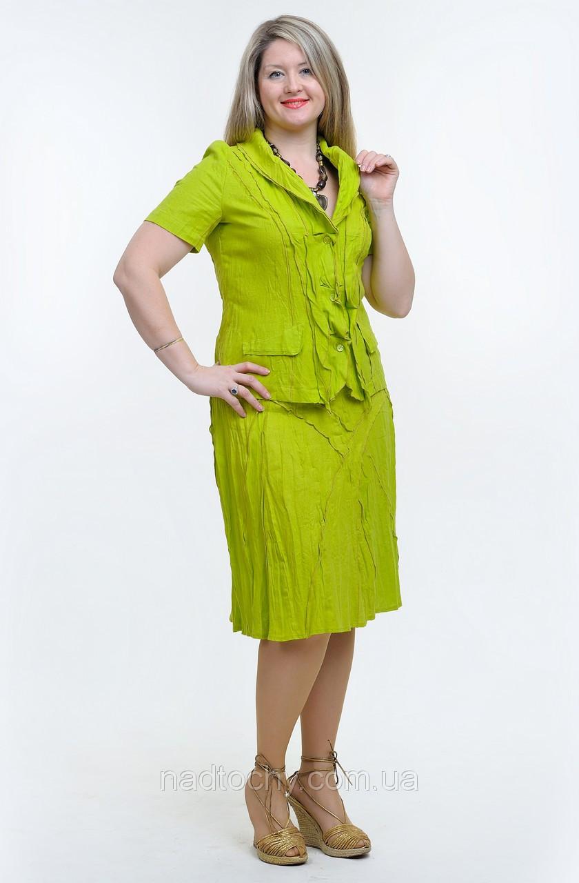 Костюм льняной салатовый женский (КОС 007)