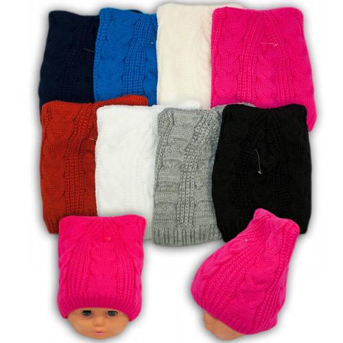 Вязаная шапка с ушками для девочек,V3311, подкладка флис