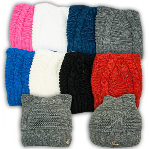 Вязаная шапка с ушками для девочек,V2021, подкладка флис