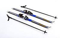 Лыжи беговые 110см, дл. палок- 90см, Fiberqlass, крепл. В-регул с насечкой