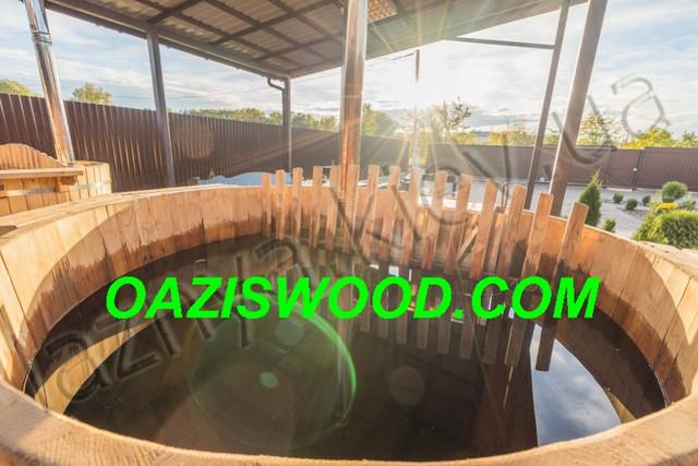 Офуро, японская баня, фурако, купель с печкой, чан из термососны