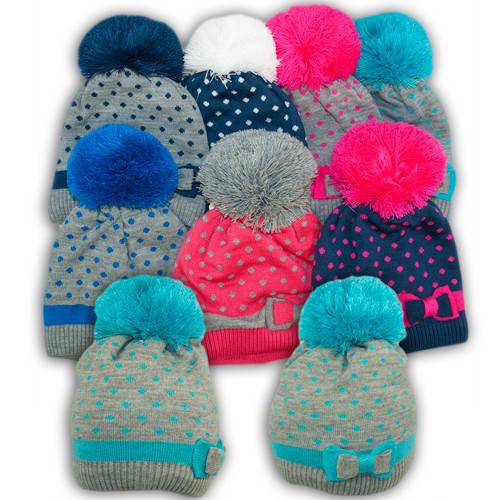 Вязаная шапка с помпоном для девочек,V312, подкладка флис