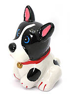 Копилка Собака керамика черно-белая