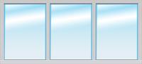 Окно металлопластиковое 5-камерное 3-секционное глухое 2500/1090