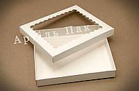 Коробка для пряника 200*170*30 БІЛА мелований картон + вікно з прозорої ПВХ плівки (пластик)