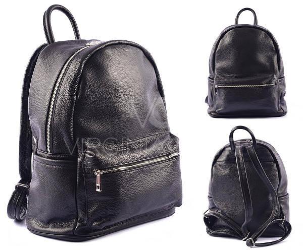 Черный кожаный рюкзак Virginia Conti