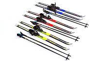 Лыжи беговые  120см,дл. палки - 100см, Fiberqlass, крепл. A-не регулируется