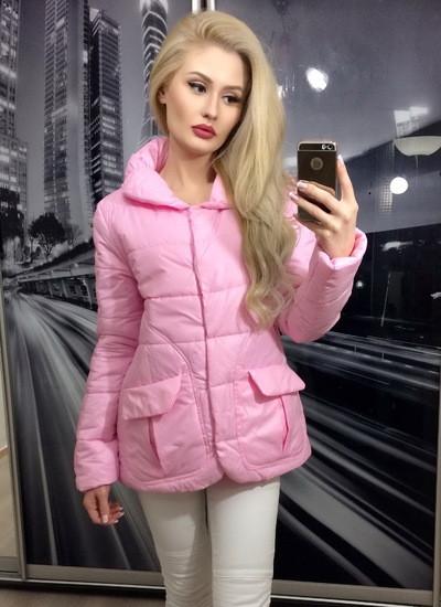 Куртка накладной карман розовая