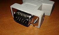 Переходник Gresso DVI (F) - VGA (M) модель 6008, без ферритов, белый, кулёк