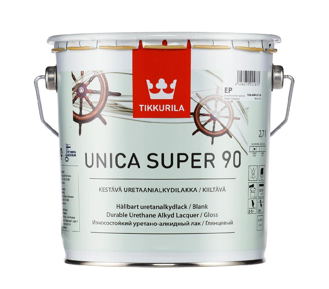 Лак алкид-уретановый TIKKURILA UNICA SUPER 90 яхтовый глянцевый 2,7л