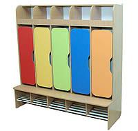 Шкаф детский 5-секции с фигурными дверями, хромированные трубы (32993)