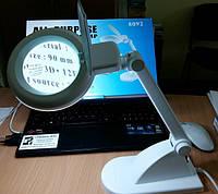 Лампа-лупа с люминисцентной подсветкой, 3+8 диоптрий, d=90мм