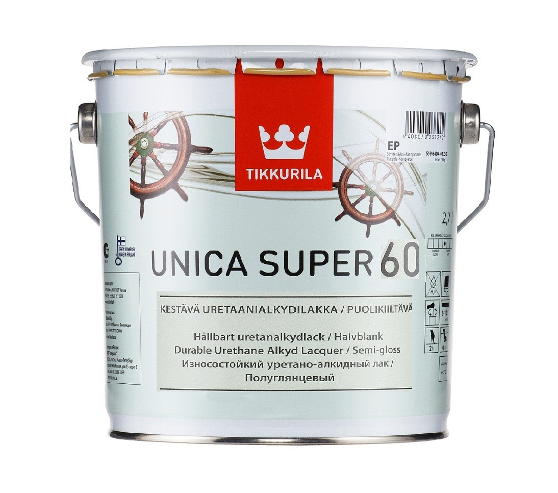 Лак алкид-уретановый TIKKURILA UNICA SUPER 60 яхтовый полуглянцевый 2,7л