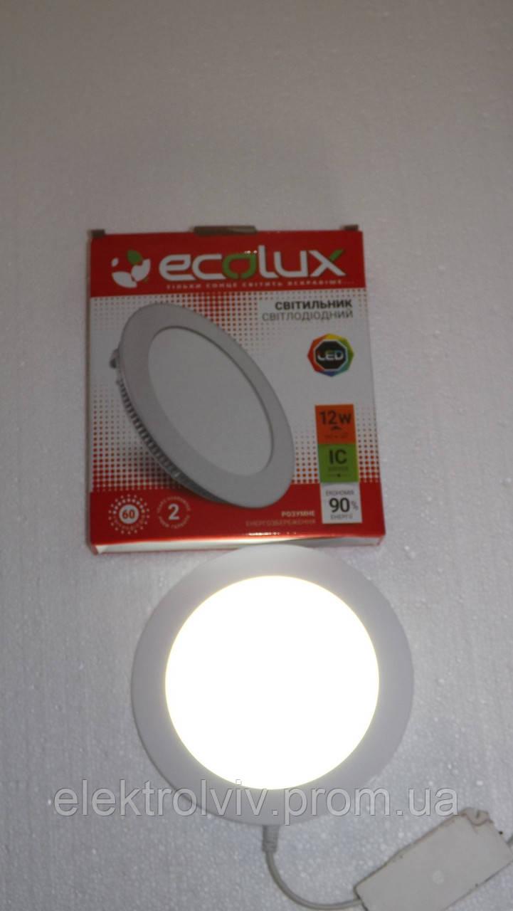 Світильник LED панель 20w ECOLUX круглий вбудований