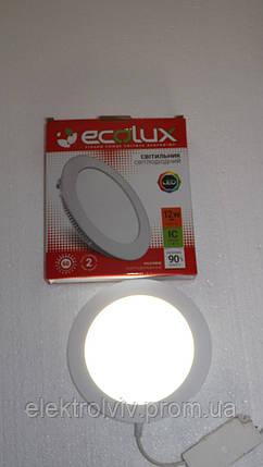 Світильник LED панель 20w ECOLUX круглий вбудований, фото 2