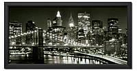 Картина в раме Ночные Огни Манхеттена (ч/б)