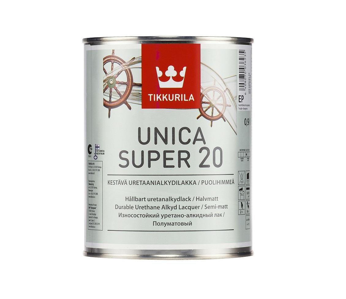 Лак алкид-уретановый TIKKURILA UNICA SUPER 20 яхтовый полуматовый 0,9л
