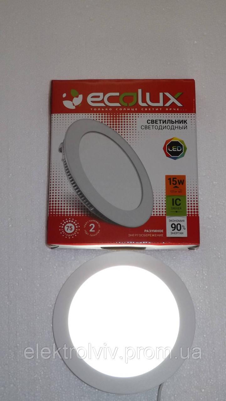 Светильник LED панель 15w ECOLUX круглый встраеваемый