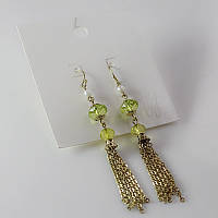 Модные длинные женские серьги сережки от H&M салатового цвета
