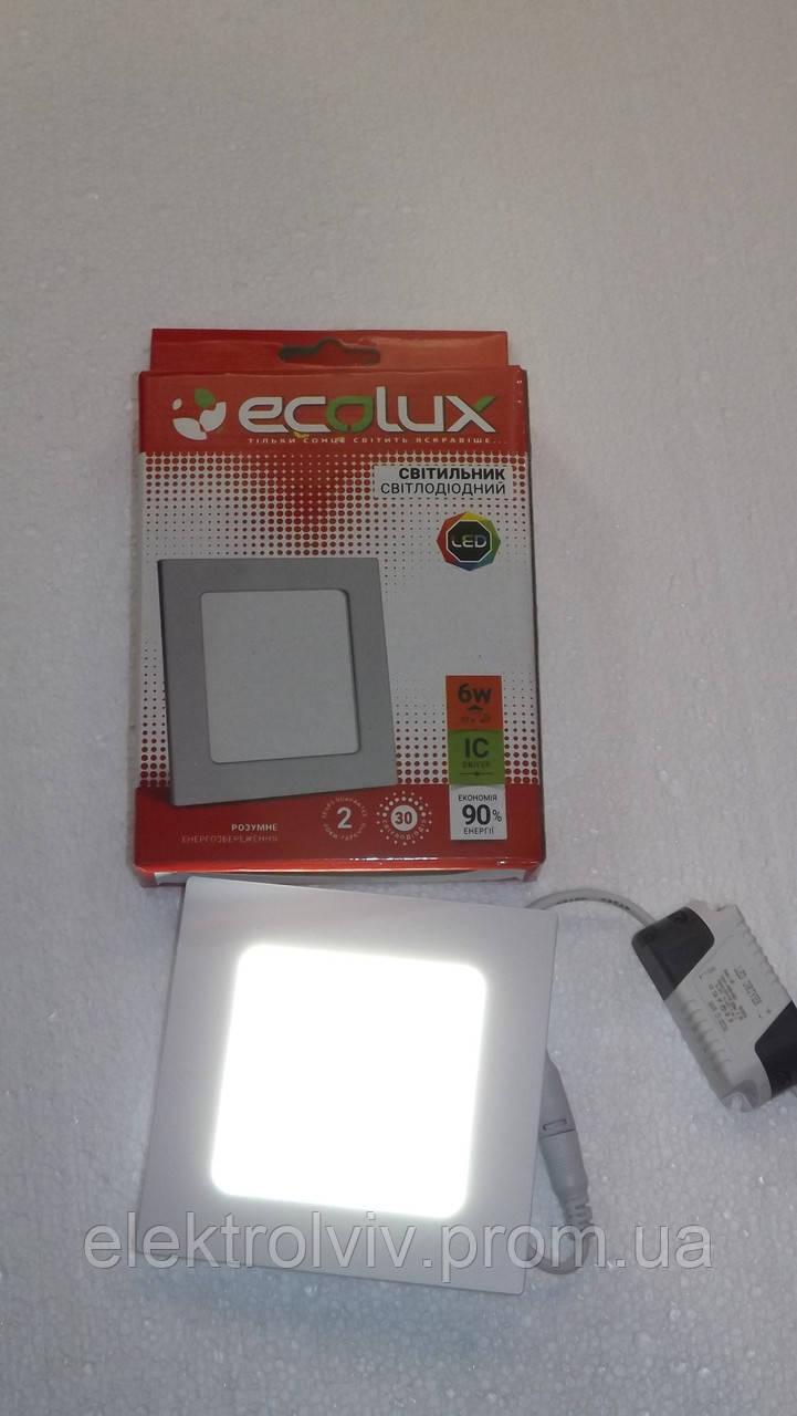 Светильник LED панель 6w ECOLUX квадратный встраеваемый