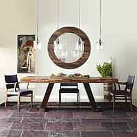 Стол из массива дерева и стекла