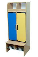 Шкаф детский 2-секции с фигурными дверями, хромированные трубы (32630)