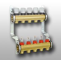 Распределительный коллектор из латуни с расходомерами 4 выхода Meibes