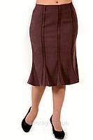 Юбка годе по колено коричневая вельветовая  женская  (Ю 019-6)