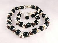 Набір з агата, зі вставками перлів і граната, фото 1