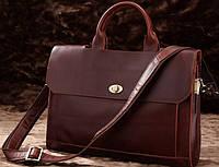 Классический мужской портфель из натуральной кожи  S.J.D. 7166C темно-коричневый