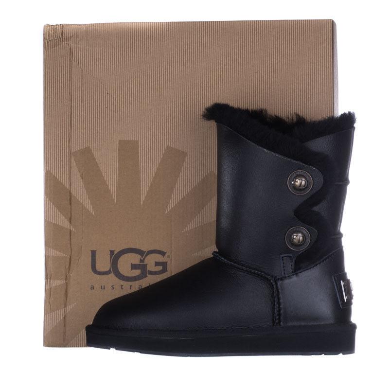 Женские угги кожаные  FD UGG  из овчины черные