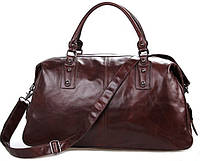 Модная дорожная сумка из натуральной кожи 28 л. S.J.D. 7071LC коричневый