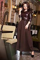 Длинное женское платье лиф из эко кожи низ из французкого трикотажа,