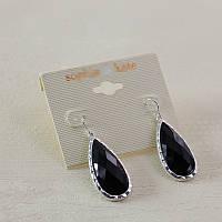 Красивые стильные женские серьги сережки черного цвета в форме овалов