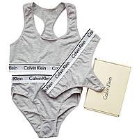 Женский комплект тройка с слипами Calvin Klein серый