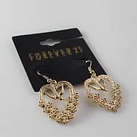 Стильные женские позолоченные серьги сережки в форме сердец от Forever 21