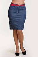 Джинсовая юбка с ремнем  короткая (Ю 036)