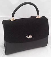 Каркасная сумка B.Elit, комбинированная замша, чёрная