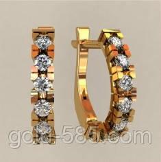 Стильные золотые сережки 585  пробы с камнями, цена 4 000 грн ... 1219c0e1171