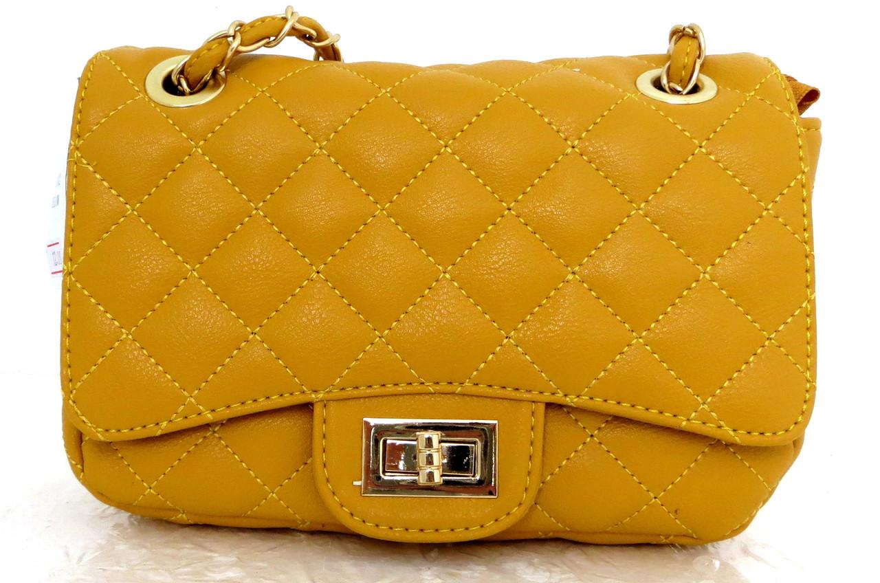 Женская сумка - клатч через плече Эко-кожа. Желтый