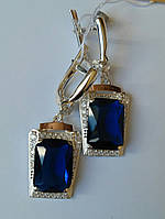 Серебряные серьги с синим фианитом