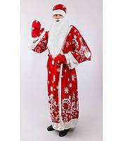 Костюм Деда Мороза снежинки красный, фото 1